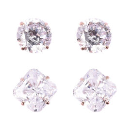 Set of 2 - ELANZA Simulated Diamond Stud Earrings (with Push Back)  in Rose Gold Overlay Sterling Si