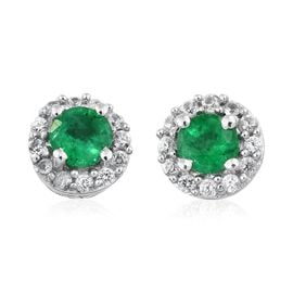 Premium Santa Terezinha Emerald (Rnd), Natural Cambodian Zircon Stud Earrings (with Push Back) in Platinum Overlay Sterling Silver 0.650 Ct.