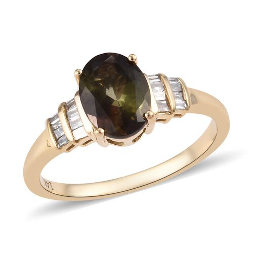 1.35 Ct AAA Brazilian Andalusite and Diamond Solitaire Design Ring in 14K Gold 2.49 Grams