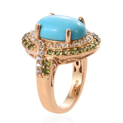 AA Arizona Sleeping Beauty Turquoise (Ovl 4.80 Ct), Russian Diopside and Natural Cambodian Zircon Ring in 14K Gold Overlay Sterling Silver 6.500 Ct, Silver wt 6.00 Gms.