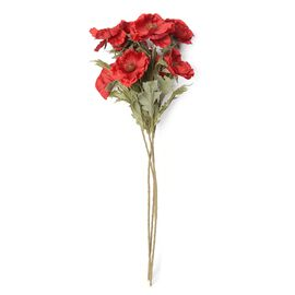High Quality Realistic Faux Poppy Flowers - Red - 4 Stems