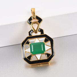 GP Verde  Onyx and Blue Sapphire Enamelled Pendant in 14K Gold Overlay Sterling Silver 2.00  Ct.