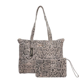 Union Code 100% Genuine Leather Light Brown Reptile Pattern Tote Bag and RFID Wrislet with Zipper Cl