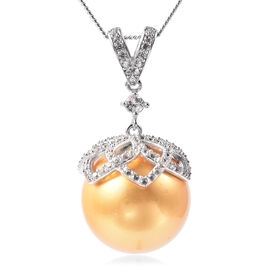 Haliotis Asinina Golden Pearl (Very Rare Size Rnd 18) and Natural Cambodian Zircon Pendant with Chai