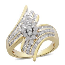 Diamond (Rnd) Crossover Ring in 14K Gold Overlay Sterling Silver 1.000 Ct.