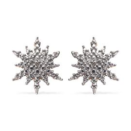 Diamond Starburst Stud Earrings with Push Back in 14K Gold Plated Silver