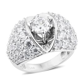 J Francis - Platinum Overlay Sterling Silver (Rnd) Cluster Ring Made with SWAROVSKI ZIRCONIA, Silver wt 7.45 Gms