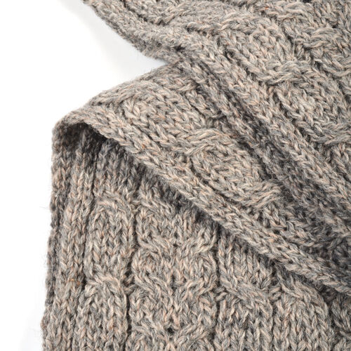 Aran 100% Pure Woollen Mills Cable Irish Scarf in Grey Colour (One Size)