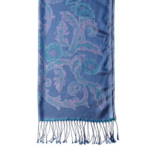 Light Blue and Light Pink Colour Scarf with Flower Pattern and Tassels (Size 180x70 Cm)