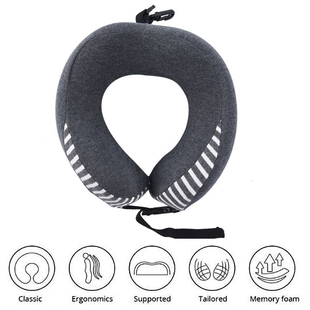 Comfy Neck Pillow with Buckle Closure - Gray