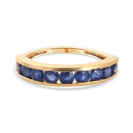 One Time Deal- Blue Sapphire Half Eternity Band Ring in 14K Gold Overlay Sterling Silver 1.20 Ct.