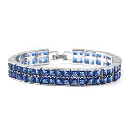 Simulated Blue Spinel (Sqr) Bracelet (Size 7.5) in Silver Tone