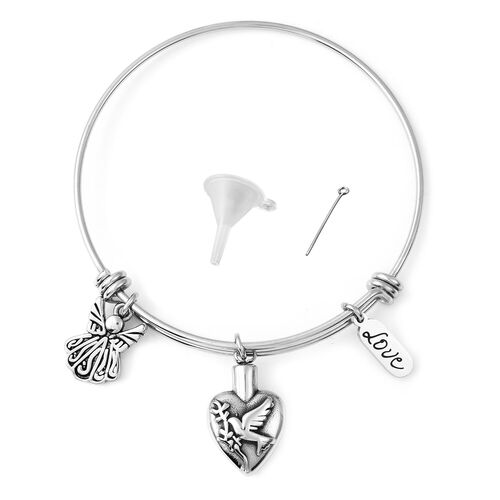 2 Piece Set - Memorial Multi Charm Adjustable Bangle (Size 7.25) and Funnel with Needle in Stainless