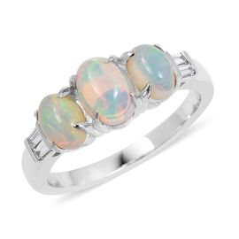 ILIANA 1.36 Ct AAA Ethiopian Welo Opal and Diamond SI GH Trilogy Ring in 18K White Gold