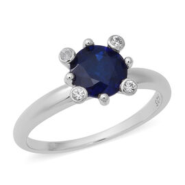 Blue Spinel (Rnd), Natural White Cambodian Zircon Ring in Rhodium Overlay Sterling Silver 1.60 Ct.