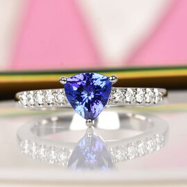 RHAPSODY 950 Platinum AAAA Tanzanite and Diamond (VS/E-F) Ring 1.15 Ct.