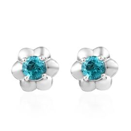 Paraibe Apatite (1.00 Ct) Platinum Overlay Sterling Silver Earring  1.000  Ct.