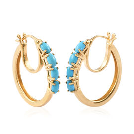 Arizona Sleeping Beauty Turquoise (Ovl 5x3 mm) Hoop Earrings (with Clasp) in 14K Gold Overlay Sterli