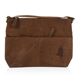MCS Country Classics: 100% Genuine Leather Handbag - Tan