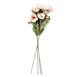 High Quality Realistic Faux Poppy Flowers - Peach - 4 Stems