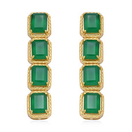 Green Onyx (Oct) Earrings (with Push Back) in Yellow Gold Overlay Sterling Silver 18.020 Ct., Silver