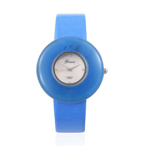 GENOA Japanese Movement Blue Quartzite and White Austrian Crystal Studded Water Resistant Watch With Stainless Steel Back and Blue Strap