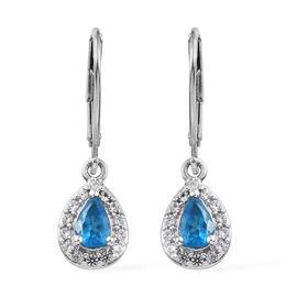 Malgache Neon Apatite (Pear), Natural Cambodian Zircon Lever Back Earrings in Platinum Overlay Sterl