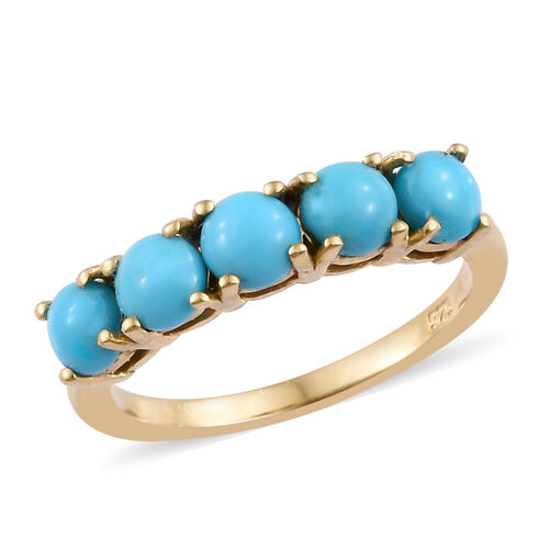 1.25 Carat Sleeping Beauty Turquoise 5 Stone Ring in Gold Plated Sterling Silver