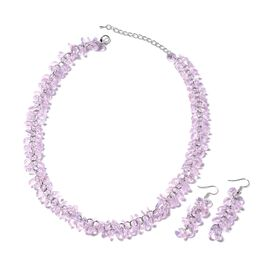 2 Piece Set - Kunzite Colour Beads Necklace (Size 19 with 2.5 inch Extender) and Hook Earrings in St