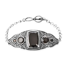 Elite Shungite (Cush and Rnd) Bracelet (Size 7.5-8) in Sterling Silver 11.90 Ct, Silver wt 17.35 Gms