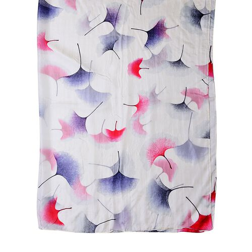 100% Mulberry Silk Red, Navy and White Colour Rain Tree Flower Printed  Scarf (Size 180X110 Cm)