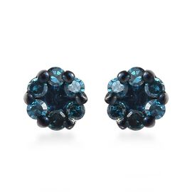Blue Diamond Pressure Set Floral Stud Earrings in Platinum Plated Sterling Silver