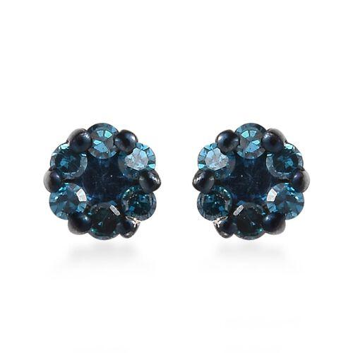 Blue Diamond Pressure Set Floral Stud Earrings in Platinum Plated Sterling Silver