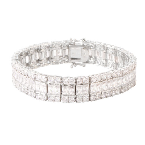 ELANZA Simulated Diamond (Bgt) Bracelet (Size 7) in Rhodium Plated Sterling Silver