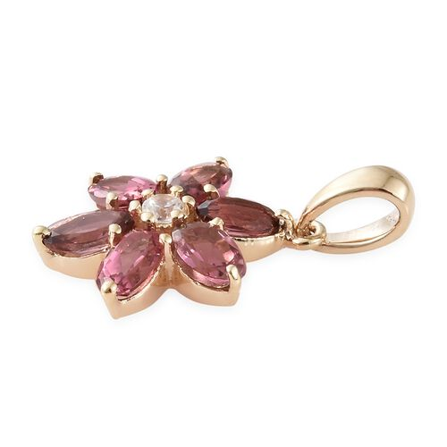 9K Yellow Gold AA Pink Tourmaline (Oval), Natural Cambodian Zircon Floral Pendant 1.400 Ct.