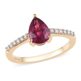 ILIANA 18K Yellow Gold AAA Rubelite (Pear), Diamond (SI/G-H) Ring 1.30 Ct.