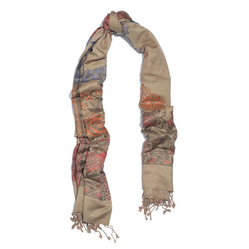 Brown and Multi Colour Peacock Pattern Jacquard Scarf with Fringes (Size 200x70 Cm)