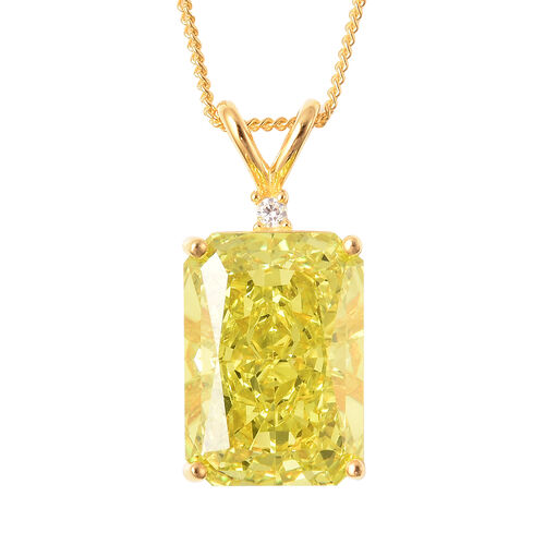 ELANZA Simulated Peridot and Simulated Diamond Pendant With Chain in Yellow Gold Overlay Sterling Si
