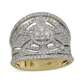 14K White Gold Diamond (I1-I2/G-H) Ring 1.00 Ct, Gold wt 6.00 Gms