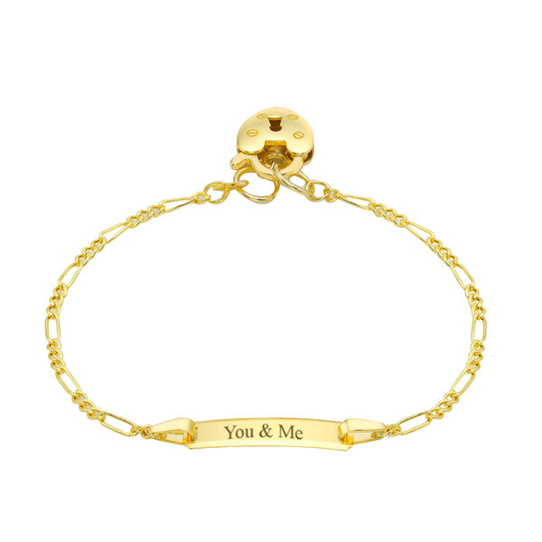 Personalised 9CT Gold 50 Hollow Figaro  ID Bracelet with Padlock, Size 6 Inch