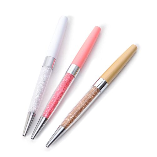 Set of 3- Simulated Crystal White, Pink and Golden Colour Ballpoint Pen with 3 Blue Ink