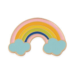 Multi Colour Enamelled Rainbow Brooch with Cloud in Yellow Gold Tone