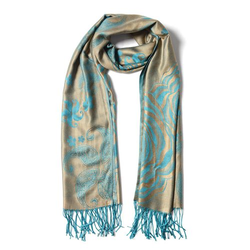 Designer Inspired- Dark Green and Brown Colour Scarf with Rose flower Pattern (Size 180X70 Cm)
