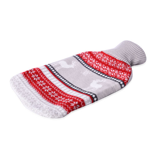 2 Piece Set Hotwater Bottle with Jacquard knitted Cover (Size 32X18 Cm)- Black and Grey