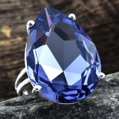 J Francis Crystal from Swarovski - Tanzanite Colour Crystal (Pear 30x20 mm) Ring in Platinum Overlay Sterling Silver, Silver wt 6.12 Gms.