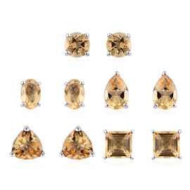 Set of 5 - Citrine Stud Earrings (with Push Back) in Platinum Overlay Sterling Silver 5.500 Ct.