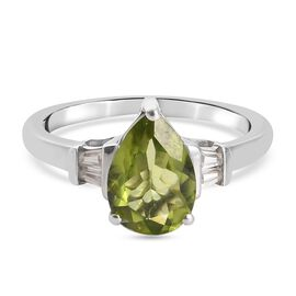 Natural Hebei Peridot and Natural Cambodian Zircon Ring in Platinum Overlay Sterling Silver 2.03 Ct.