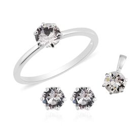 3 Piece Set - J Francis Crystal from Swarovski White Crystal Solitaire Ring, Stud Earrings (with Pus