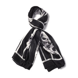 Close Out Deal- 100% Mulberry Silk Skull Pattern Scarf (Size 170x110Cm) - Black and White