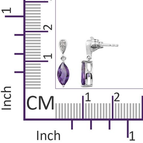 9K White Gold AA Amethyst (Mrq), Diamond Earrings (with Push Back) 1.350 Ct.